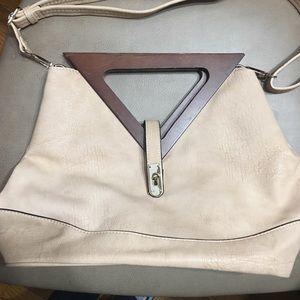 Handbags - Cream handbag/ shoulder bag with wooden handle